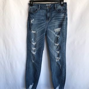Cello distressed jeans with raw hem